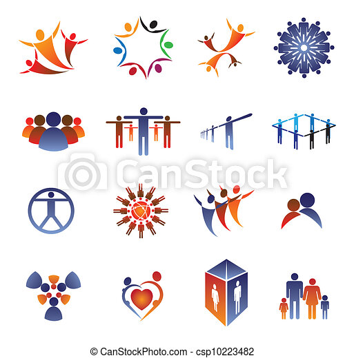 Collection set of icons and design elements related to community, office staff, family, couple & people in general. These colorful icons show concepts like teamwork, leadership, love, happiness, idea - csp10223482