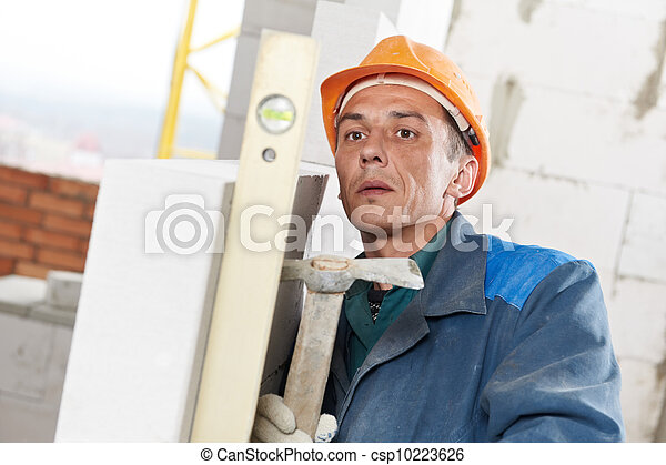 construction mason worker bricklayer with level - csp10223626