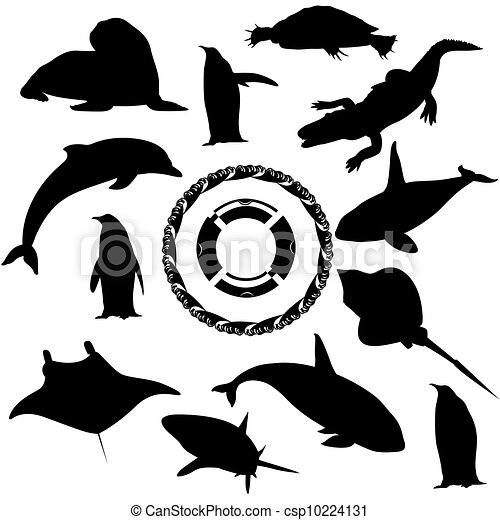 轮廓, 海, 居民, 黑色, 白色, 描述