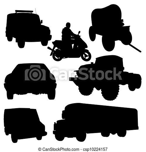 有关发动机车辆 - the, 轮廓, 汽车, 摩托车, 黑色,.