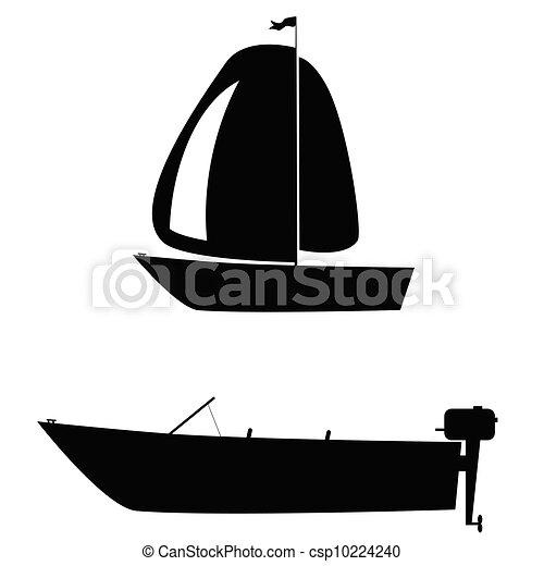 船, 二, 侧面影象, 矢量, 描述, 白色