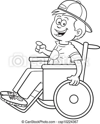 clip art vecteur de gar231on fauteuil roulant noir et