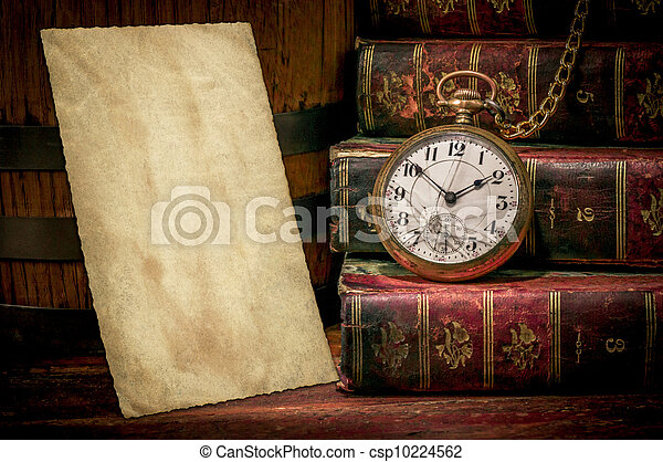 Old photo paper texture, pocket watch and books in Low-key - csp10224562