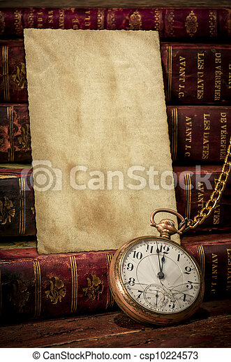 Old photo paper texture, pocket watch and books in Low-key - csp10224573