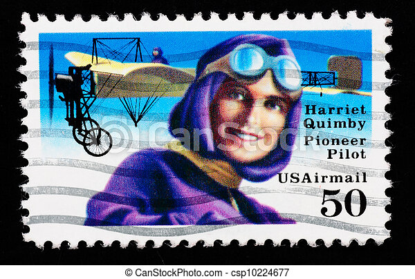 USA - CIRCA 1993 : stamp printed in USA showing Harriet Quimbly American pioneer pilot, circa 1993 - csp10224677