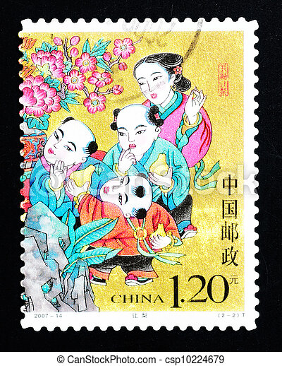 CHINA - CIRCA 2007: A Stamp printed in China shows a historic story of sharing pears, circa 2007 - csp10224679