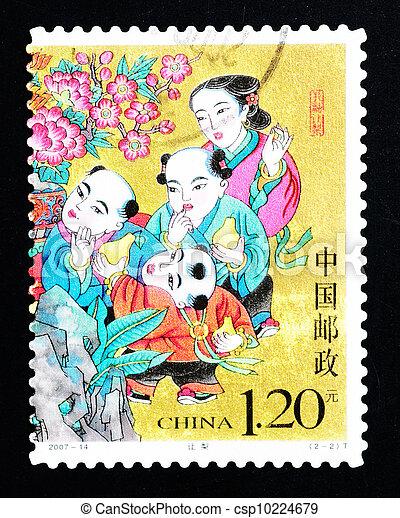 CHINA - CIRCA 2007: A Stamp printed in China shows a historic story of sharing pears, circa 2007 - csp10224679