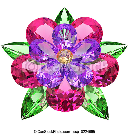 Flower composed of colored gemstones on white - csp10224695