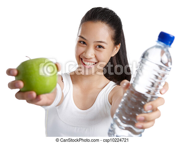 fitness girl with healthy food - csp10224721