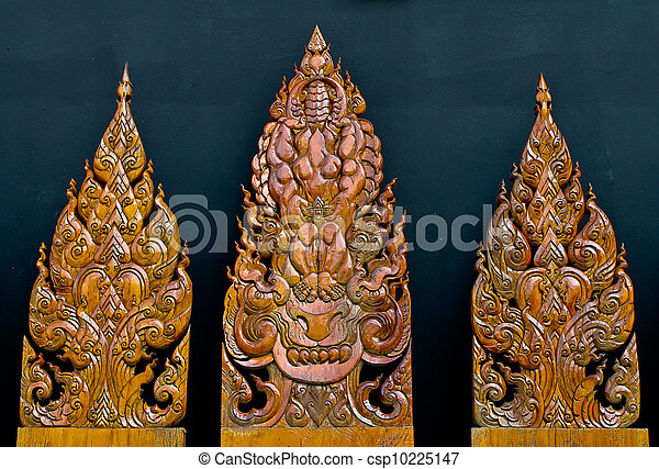艺术, 树木, 雕刻, 泰国人, 寺庙