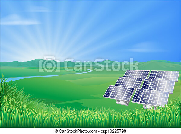 Solar panel landscape illustration - csp10225798