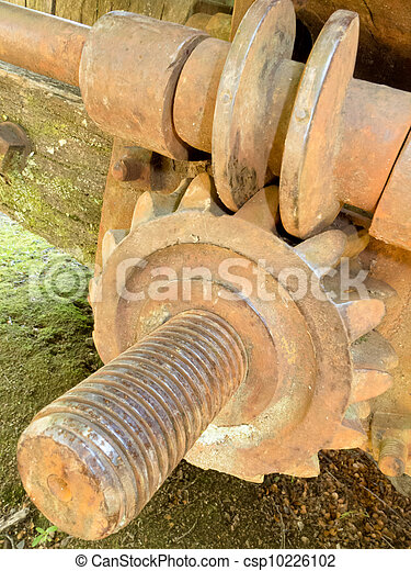 Close-up of old historic rusty iron worm gear - csp10226102