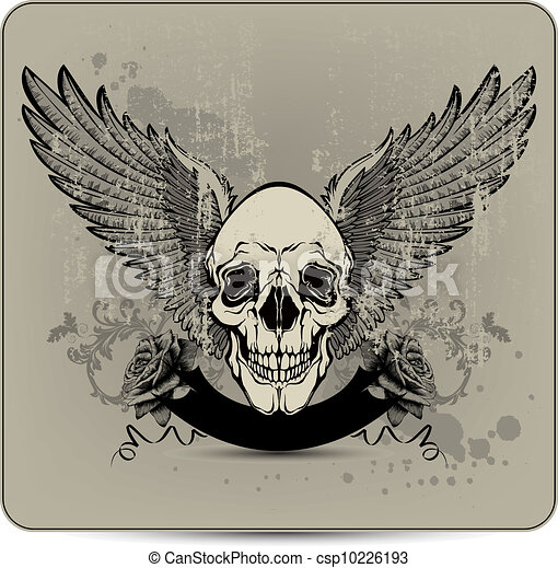 Skull with wings and roses, hand-dr - csp10226193