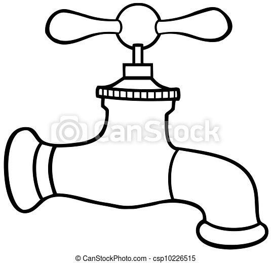 Vector clip art de agua contorneado grifo outlined for Grifo dibujo