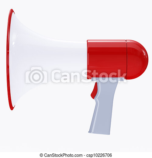 Red megaphone with red button - csp10226706