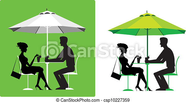 Couple at outdoor cafe - csp10227359