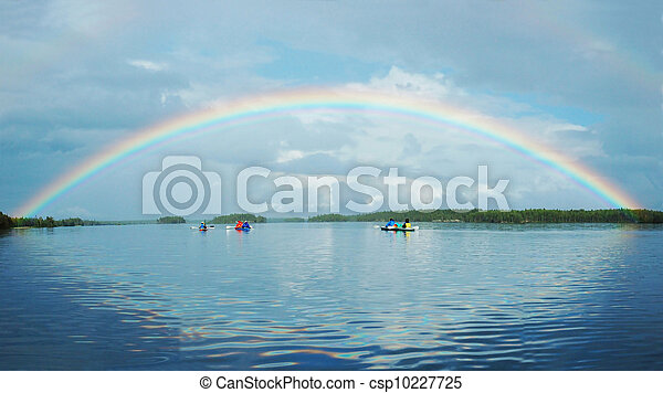 Kayaking in Polar Karelia with rainbow ,Engozero lake  - csp10227725