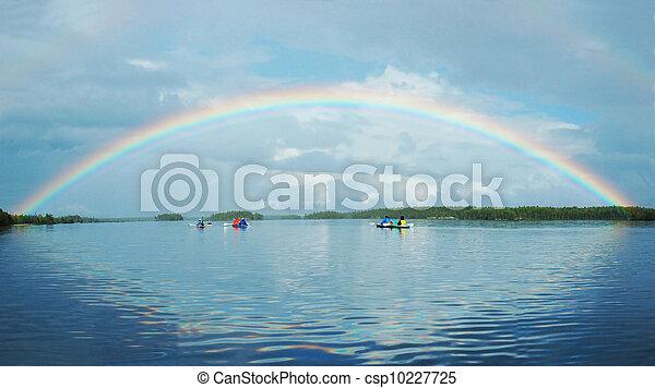 Kayaking in Polar Karelia with rainbow , Engozero lake - csp10227725