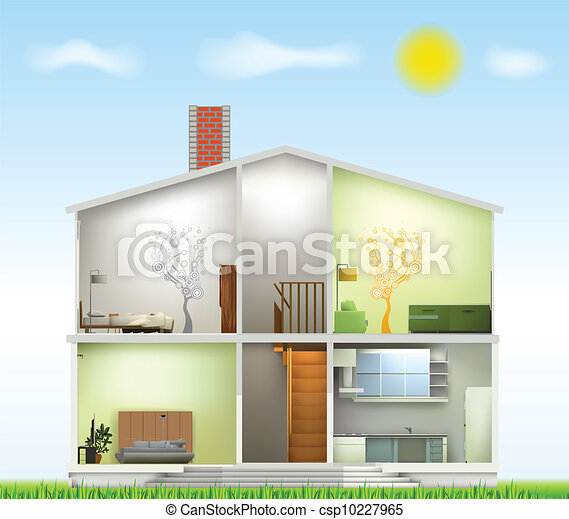 Cut in house interiors. Vector - csp10227965
