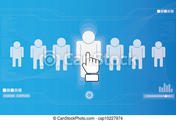 hand icon pushing human button - csp10227974