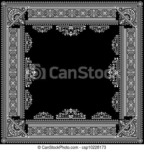 One Color Vector High Ornate Title Frame and Pattern - csp10228173