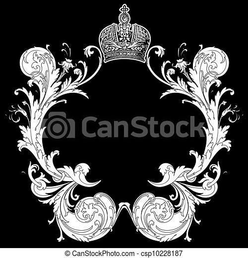 Black And White Ornate Heraldic Art Deco Quad - csp10228187
