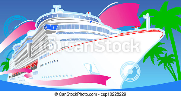 Vector Illustration of Color Luxury Cruise Big Boat ...