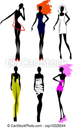 Six Fashion Girls Silhouette. More In My Portfolio. - csp10228244