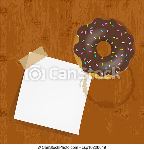 Empty Reminder With Chocolate Donuts - csp10228849