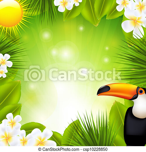 Green Background With Tropical Elements - csp10228850