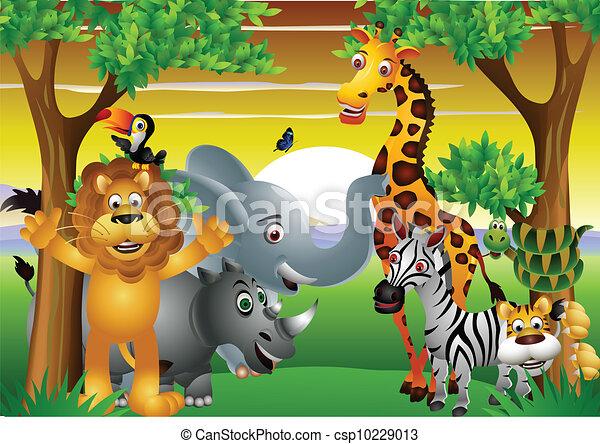 Clipart vettoriali di selvatico cartone animato animale - Animale cartone animato immagini gratis ...