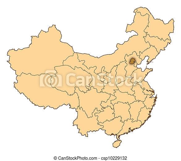 地图, 中国, 北京, 突出 - csp10229132