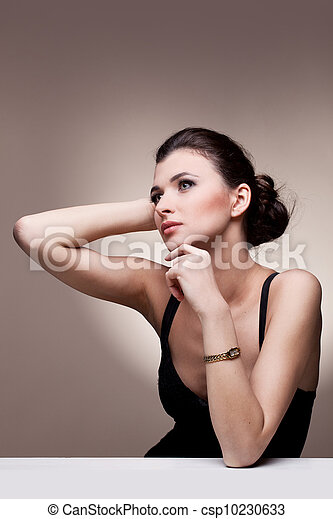 woman in exclusive jewelry - csp10230633