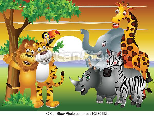 Vettore di giungla animale cartone animato vettore - Animale cartone animato immagini gratis ...