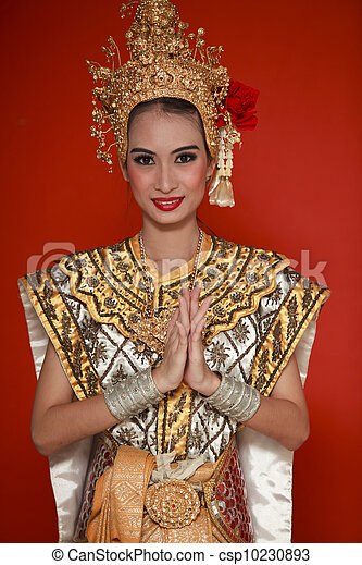 Portrait of Thai young lady in an ancient Thailand dance - csp10230893