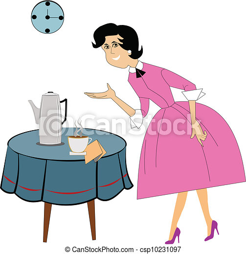 lady serving coffee - csp10231097