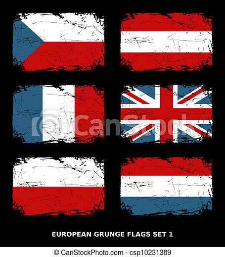 European Grunge Flags - csp10231389