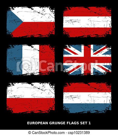 European Grunge Flags - csp10231389