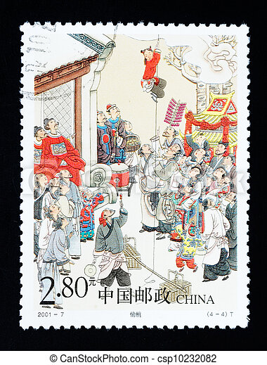 CHINA - CIRCA 2001: A Stamp printed in China shows the historic story of stealing peach , circa 2001 - csp10232082