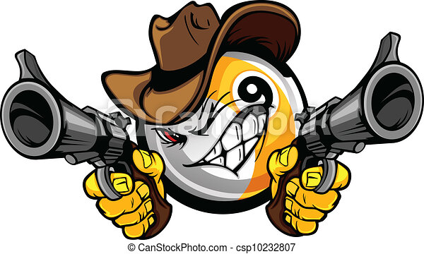 Billiards Pool Nine Ball Shootout Cartoon Cowboy - csp10232807