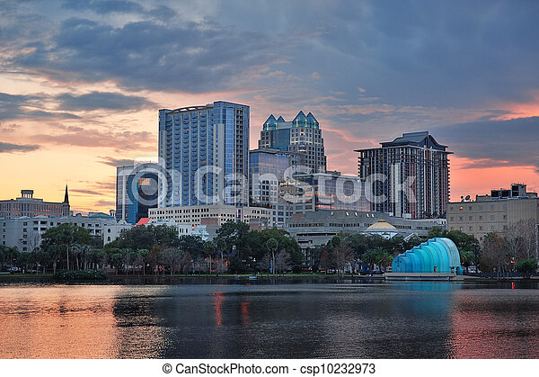 Orlando sunset over Lake Eola - csp10232973
