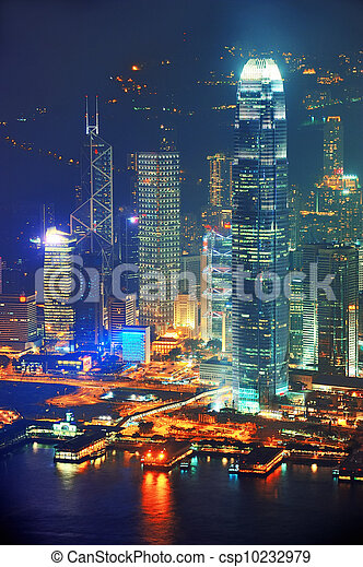 Hong Kong aerial night - csp10232979