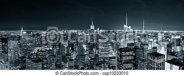 cidade,  Skyline,  York, noturna, Novo,  Manhattan - csp10233010