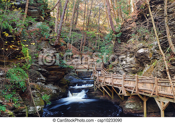 Autumn creek with hiking trails and foliage - csp10233090