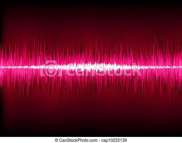 Sound waves oscillating on black background. EPS 8 - csp10233139