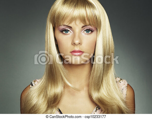 Photo of beautiful woman with magnificent hair - csp10233177