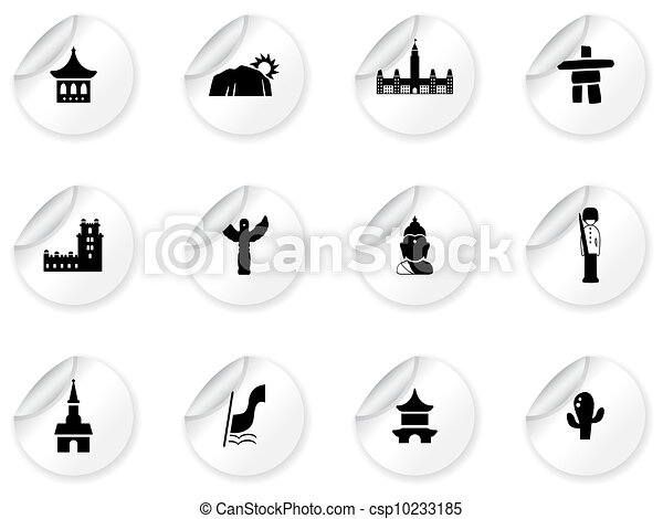 Stickers with landmarks and cultures icons - csp10233185