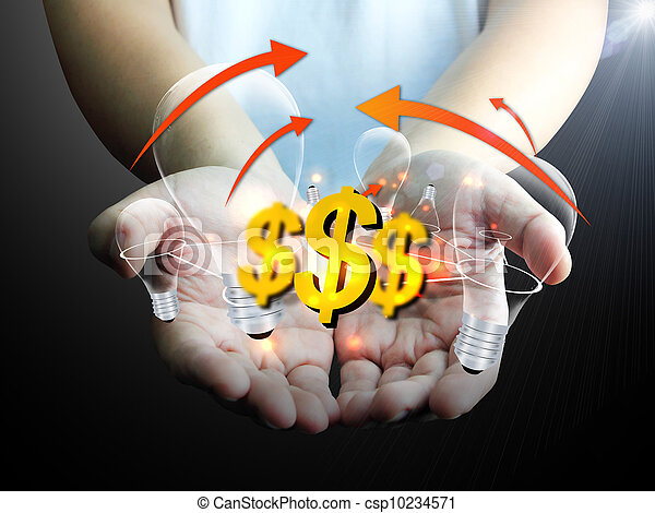 US dollar sign with light bulb in hand - csp10234571