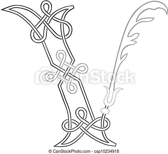 Vector Clip Art of Celtic Letter V - A Celtic Knot-work Capital ...