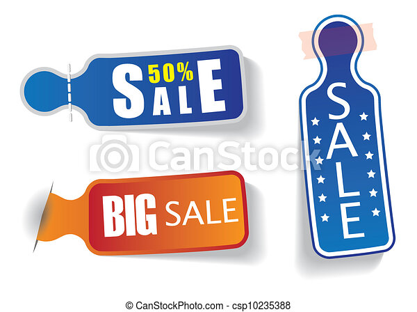 Set of colorful labels with sale and discount messages to be used in websites, blogs etc. The promotional web badges are cut out from paper, stitched to background, stuck to background using tape. - csp10235388